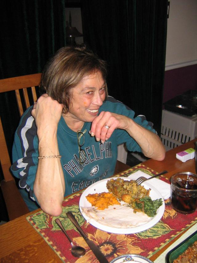 My mom, on the last Thanksgiving we ever spent together.