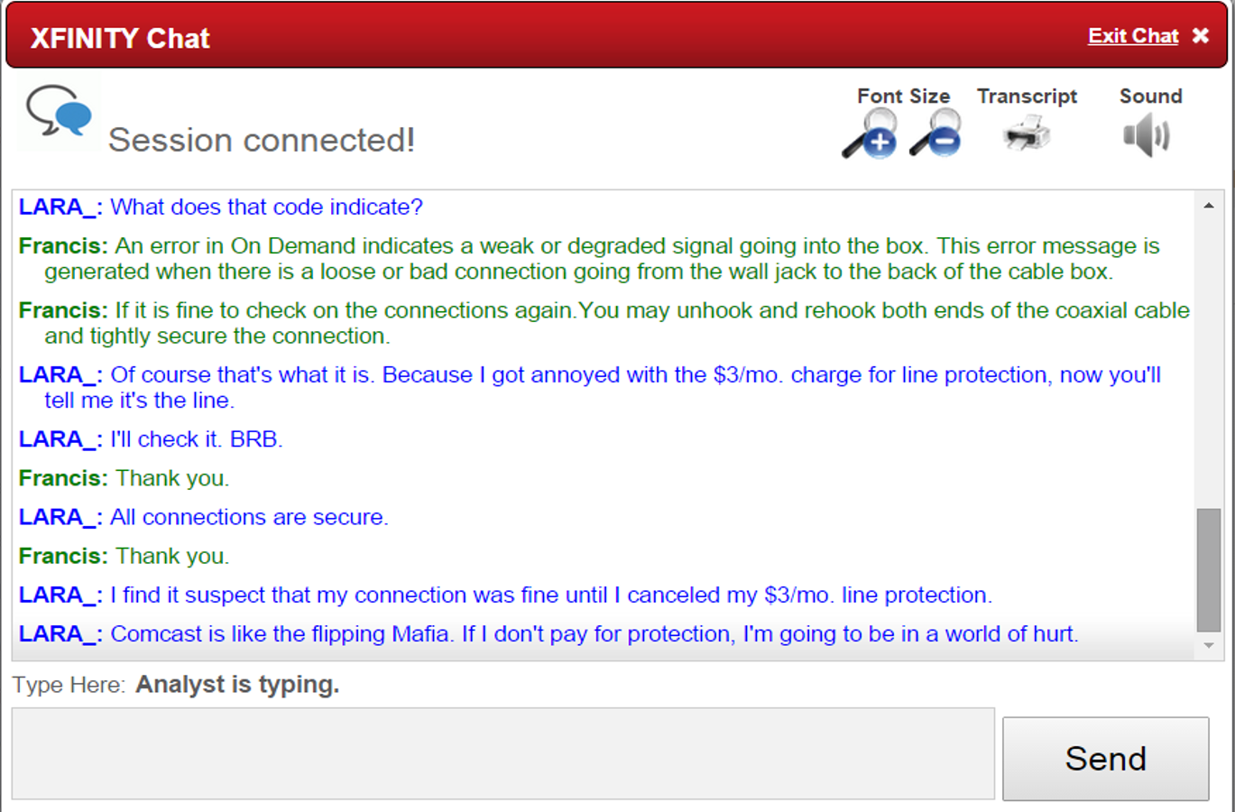 Comcast Quote The Best Exchange I've Ever Had With A Comcast Customer Service