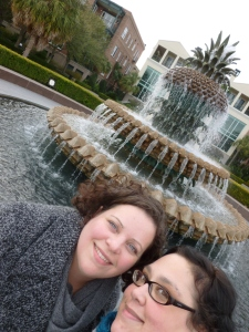 Wendy and me at the famed Pineapple Fountain in Charleston, SC, 2012.